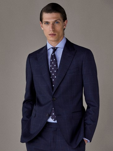 SLIM FIT NAVY BLUE CHECK HALF-CANVAS BLAZER