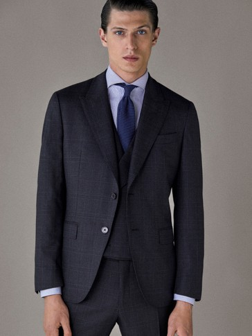 PERSONAL TAILORING SLIM FIT CHECK WOOL HALF-CANVAS BLAZER