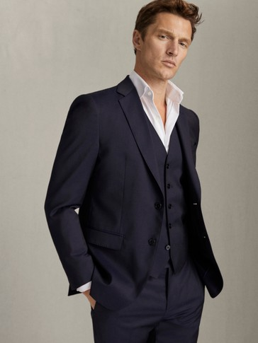 SLIM FIT WORSTED WOOL BLAZER