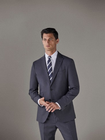 BLAZER DE LÃ COM ESTRUTURA CITY SLIM FIT TRAVEL SUIT