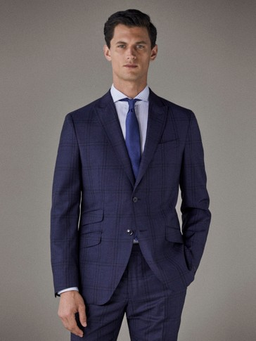 SLIM FIT NAVY BLUE CHECK WOOL BLAZER