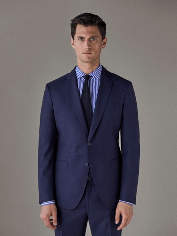 NAVY BLUE 100% WOOL MOULINÉ BLAZER