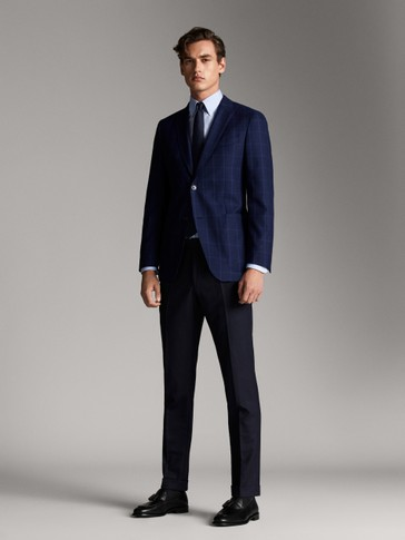 NAVY BLUE CHECK WOOL BLAZER