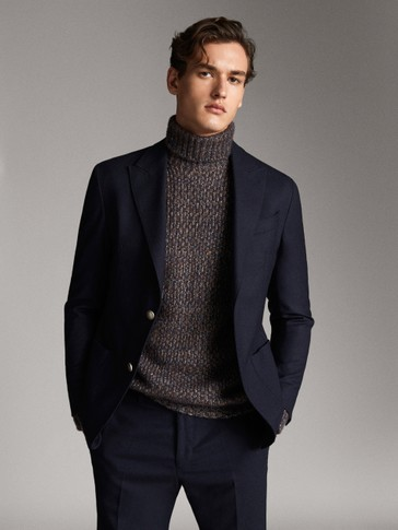 NAVY WOOL AND FLANNEL BLAZER