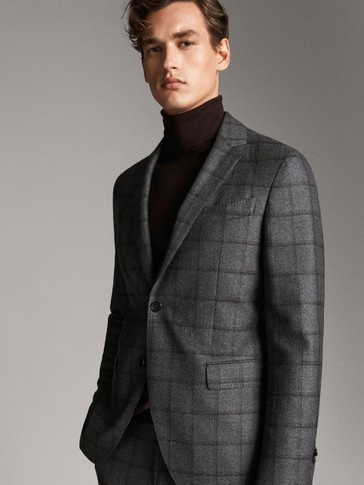 SLIM FIT WOOL CHECK BLAZER