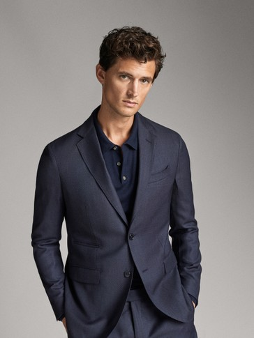 SLIM FIT TEXTURED NAVY BLUE WOOL BLAZER