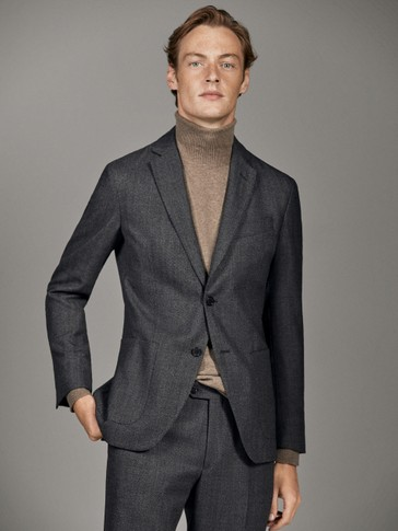 SLIM FIT HERRINGBONE BLAZER 100% WOOL