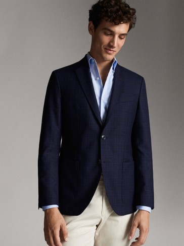 SLIM FIT NAVY BLUE CHECKED WOOL BLAZER
