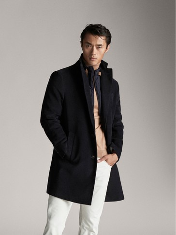 MANTEAU EN SIMILIVELOURS BLEU MARINE