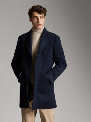 SLIM FIT NAVY WOOL AND CASHMERE COAT