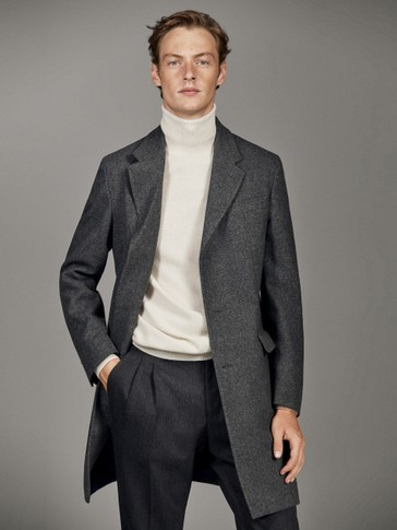 HERRINGBONE WOOL COAT WITH DETACHABLE LINING
