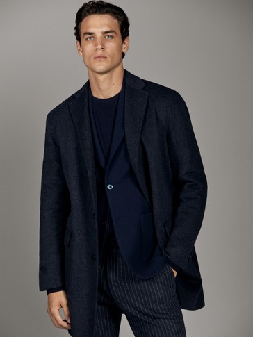 HANDMADE NAVY BLUE WOOL COAT