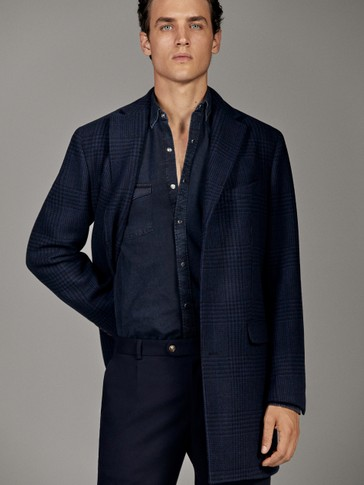 NAVY BLUE CHECKED WOOL COAT