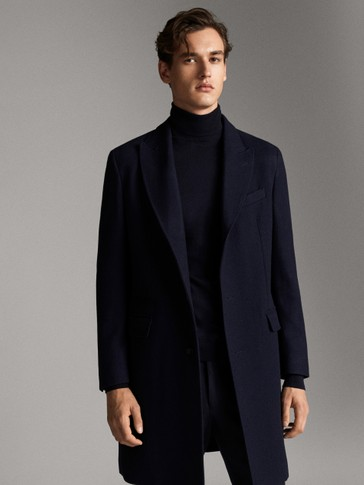NAVY BLUE CASHMERE WOOL HERRINGBONE COAT