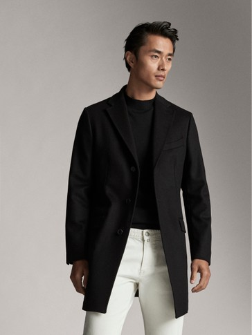 BLACK CASHMERE WOOL COAT