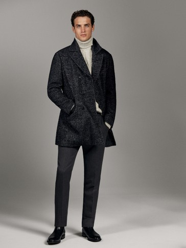 LIMITED EDITION DOUBLE-BREASTED HERRINGBONE WOOL COAT