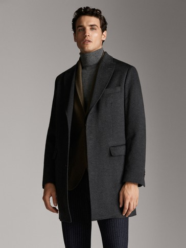 PLAIN CASHMERE WOOL COAT