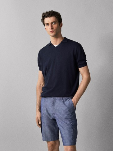 COTTON LINEN CARGO BERMUDA SHORTS
