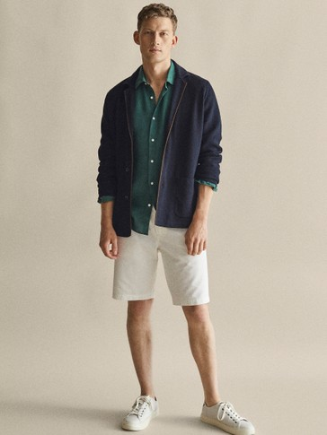 PLAIN LINEN COTTON BERMUDA SHORTS