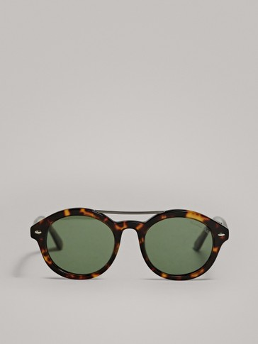 ROUND TORTOISESHELL SUNGLASSES WITH METAL BRIDGE