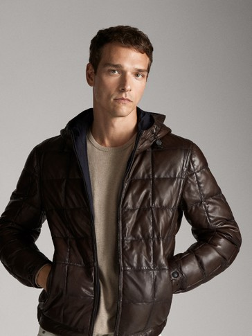 REVERSIBLE NAPPA LEATHER JACKET WITH HOOD