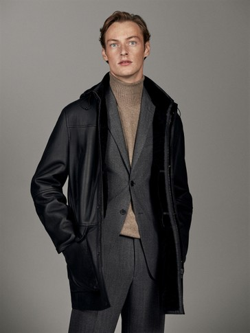 BLACK DOUBLE-FACED LEATHER COAT WITH HOOD