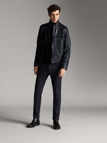 NAVY BLUE NAPPA JACKET WITH SEAMS