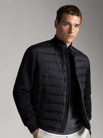 DOWN JACKET WITH CONTRAST LEATHER DETAIL