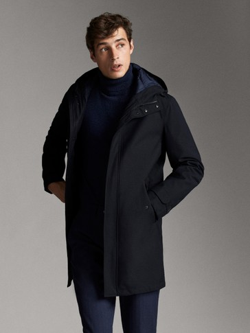 DETACHABLE NAVY BLUE FEATHER PARKA