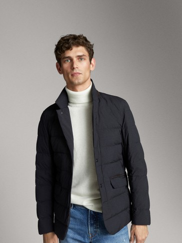 NAVY QUILTED DOWN JACKET