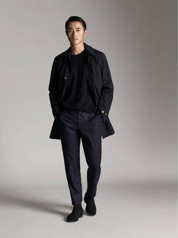 NAVY BLUE TECHNICAL TRENCH JACKET