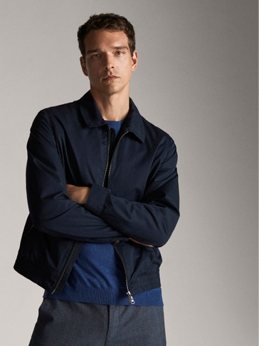 NAVY COTTON BOMBER JACKET
