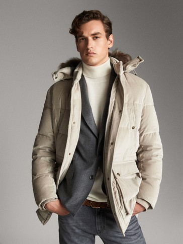 MOLESKIN DOWN JACKET WITH LAMBSKIN HOOD