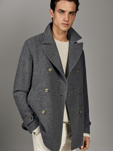 100% WOOL HERRINGBONE PEACOAT