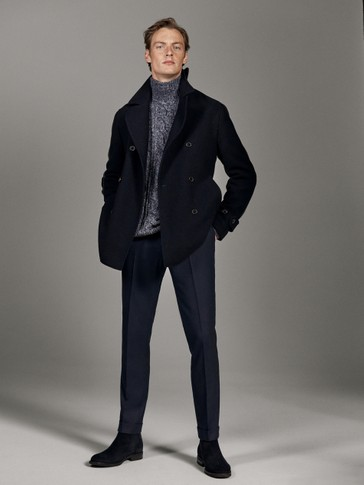 NAVY BLUE CHEVIOT WOOL COAT