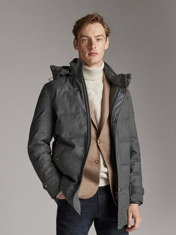 WOOL JACKET WITH DOWN INTERIOR