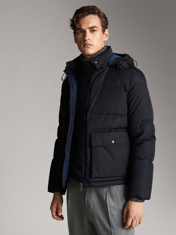 NAVY DOWN JACKET WITH HOOD
