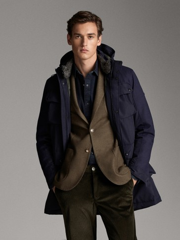 NAVY THREE-QUARTER-LENGTH DOWN COAT WITH HOOD