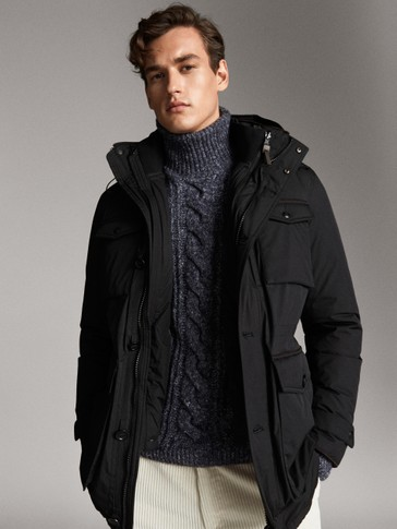 BLACK TECHNICAL DOWN JACKET WITH POCKETS