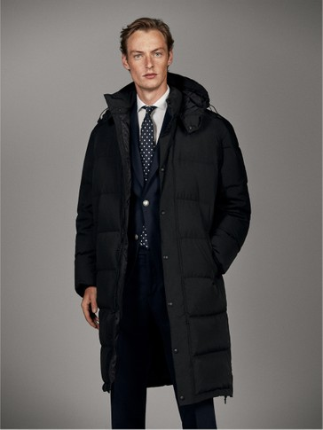 LONG BLACK FEATHER DOWN COAT