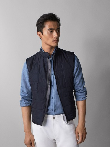 NAVY BLUE QUILTED WAISTCOAT