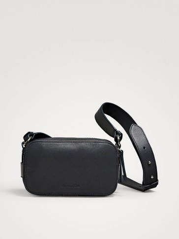 LEATHER CROSSBODY BAG WITH DOUBLE ZIP