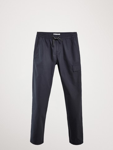 CASUAL FIT NAVY BLUE COTTON DRAWSTRING TROUSERS