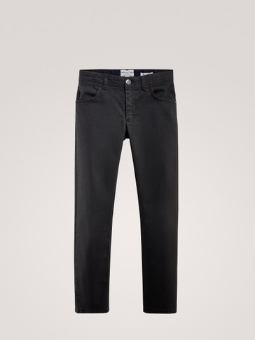 REGULAR FIT DENIM-LIKE TROUSERS