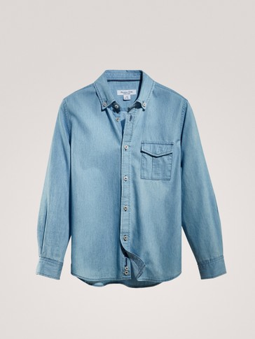 CAMICIA DENIM CON TASCA IN COTONE