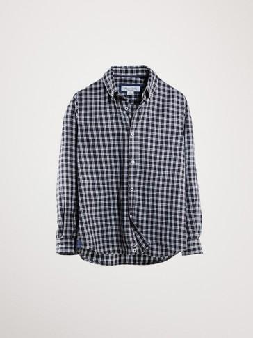 블랙 체크 코튼 셔츠