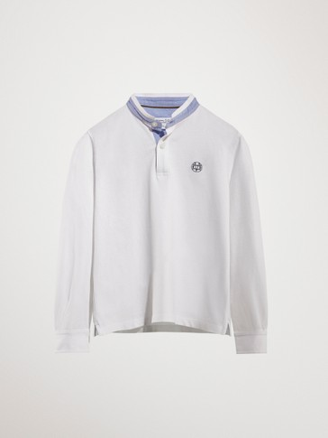 COTTON POLO SHIRT WITH STAND-UP COLLAR