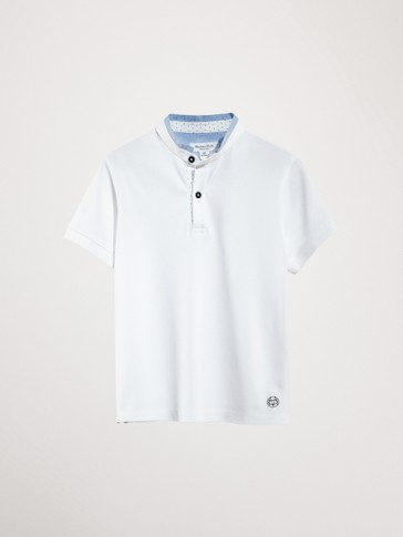 SHORT SLEEVE POLO SHIRT WITH STAND-UP COLLAR