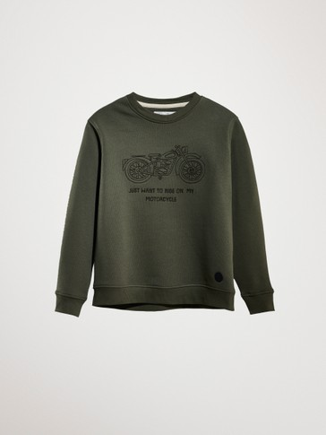 COTTON SWEATSHIRT WITH MOTORBIKE DESIGN