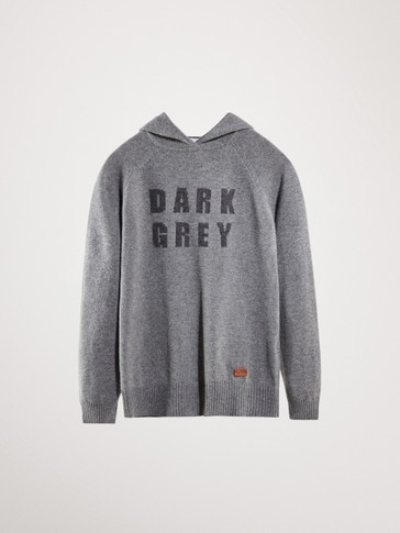 DARK GREY WOOL SWEATER WITH HOOD